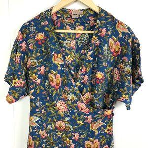 ASOS Wrap Dress Floral Bird Print Size 6